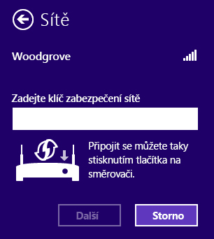 Obrazovka technologie Windows Connect Now