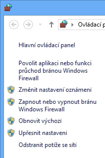 Levé podokno panelu Brána Windows Firewall