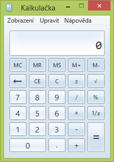 Okno programu Kalkulačka