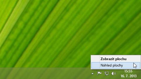 Kliknutí na tlačítko Zobrazit plochu pravým tlačítkem myši