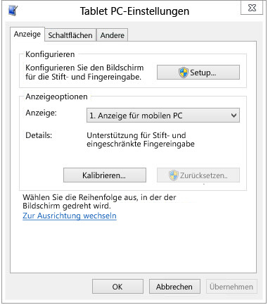 TabletPC-Einstellungen