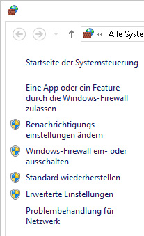 Linker Bereich der Windows-Firewall