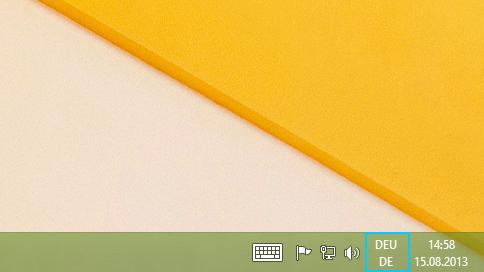 Schaltfläche mit Sprachkürzel auf der Desktop-Taskleiste