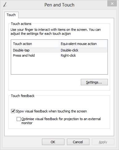 Pen and Touch Settings