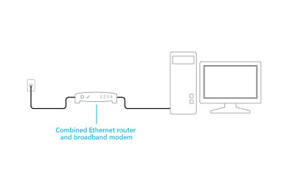 Illustration of a combined modem and router plugged in