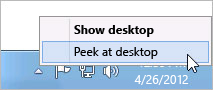 Right-clicking the Show desktop button