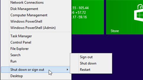Menu showing shutdown options