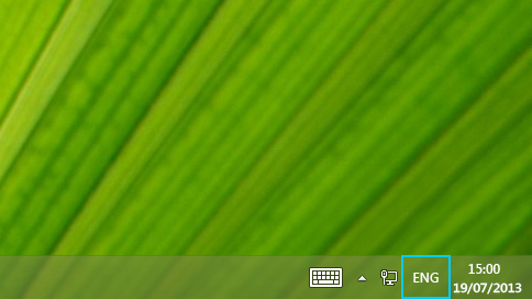 Language abbreviation button on the desktop taskbar