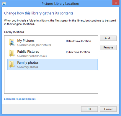 Removing a folder from the Pictures library
