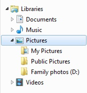 The navigation pane in File Explorer, showing the Pictures library with an extra folder added to it