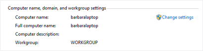 Computer name, domain, and workgroup settings