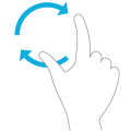 Illustration of two fingers and an arrow indicating the fingers are turning an object