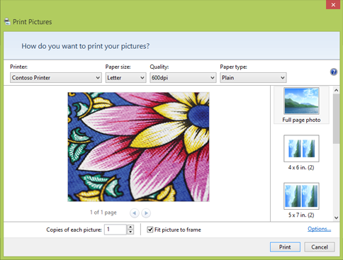 The Print Pictures dialog box