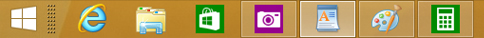 The taskbar with taskbar buttons