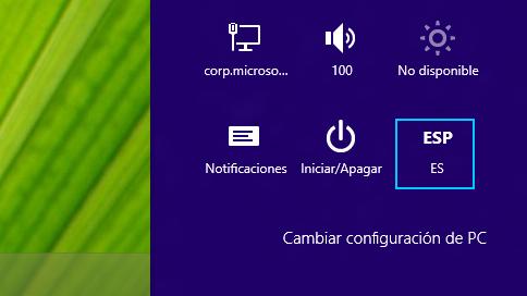 El acceso Configuración que muestra la abreviación del método de entrada seleccionado.