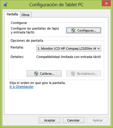 Configuración de tableta