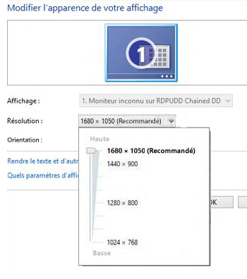Options de rsolution dans Rsolution dcran