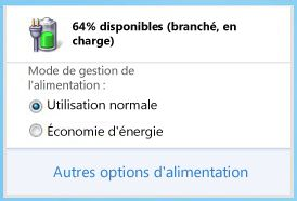 Jauge de la batterie affichant les modes de gestion de lalimentation