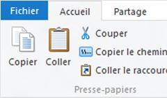 Options du Presse-papiers dans l'Explorateur de fichiers