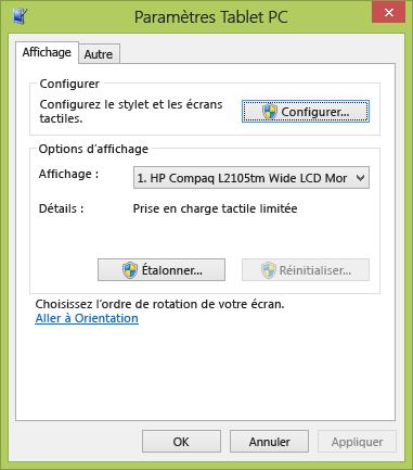Paramètres Tablet PC