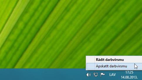 Noklikšķināšana uz pogas Rādīt darbvirsmu ar peles labo pogu