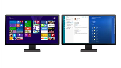 Divi monitori— vienā no tiem parādīts sākuma ekrāns, bet otrā— divas atvērtas programmas