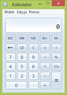 Okno programu Kalkulator