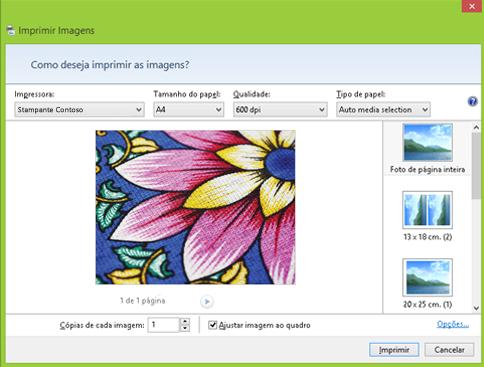 A caixa de diálogo Imprimir Imagens