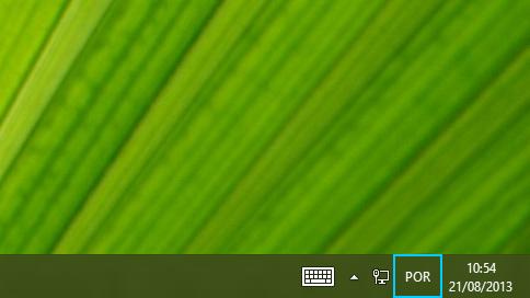 Botão da abreviação do idioma na barra de tarefas da área de trabalho