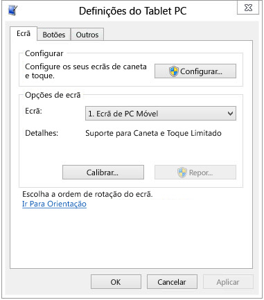 Definições do Tablet PC