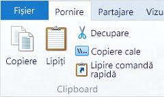 Opțiuni Clipboard în Explorer