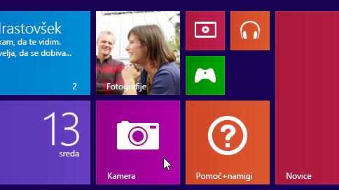 Ploščica programa Kamera na začetnem zaslonu