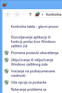 Levo okno Windows zatitnog zida