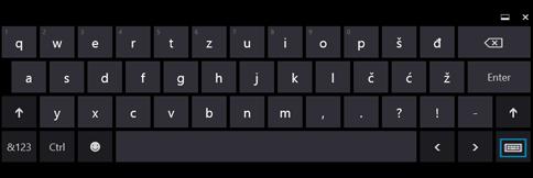 Dugme za dodirnu tastaturu na dodirnoj tastaturi