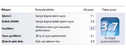 Performans Bilgileri ve Araçları'ndaki Windows Deneyim Dizini numaraları
