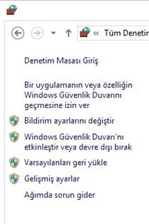 Windows Güvenlik Duvarı'nın sol bölmesi