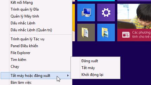 Menu hiển thị tùy chọn tắt máy